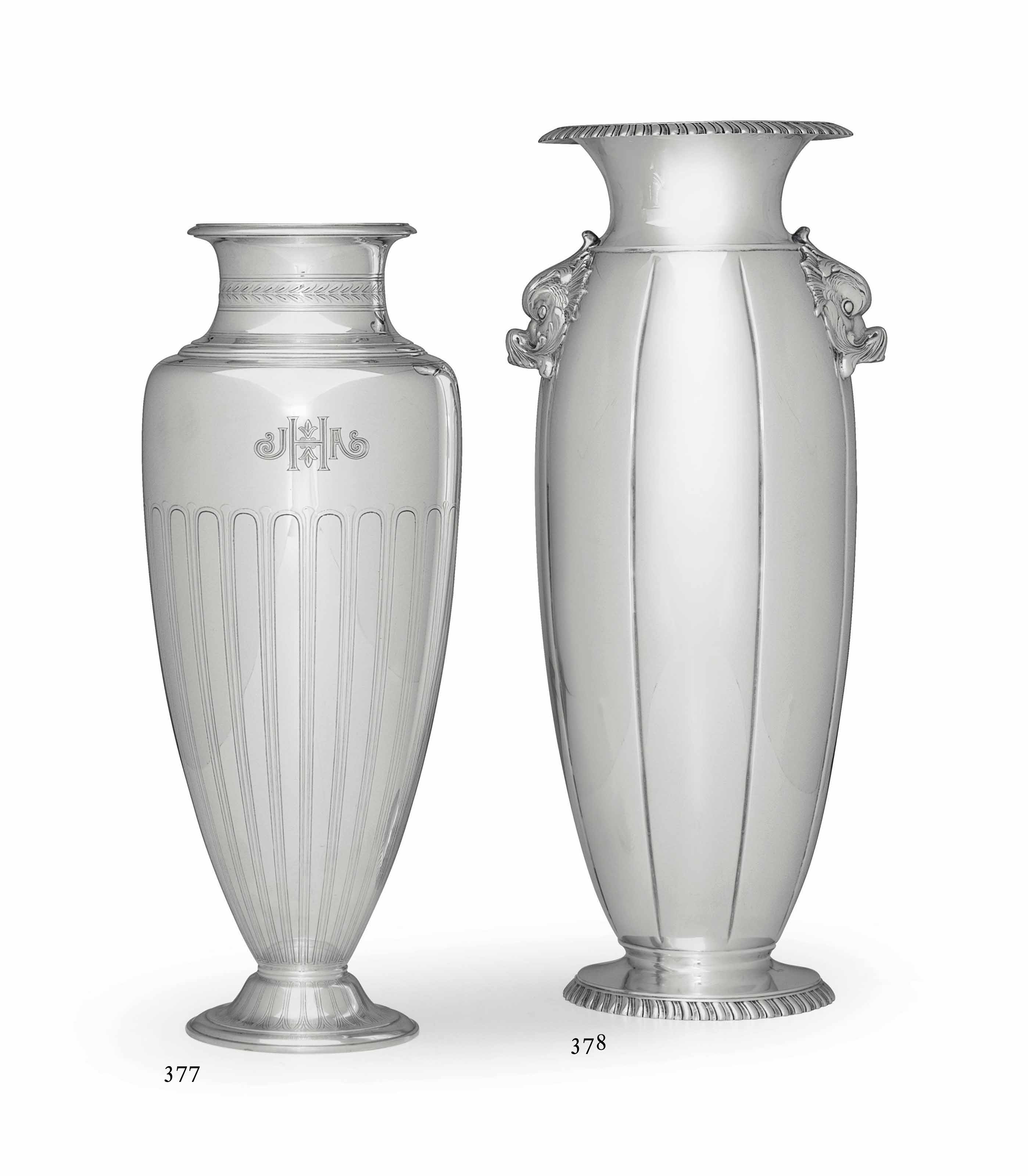 AN AMERICAN SILVER VASE