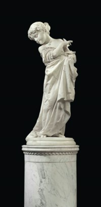 AN ITALIAN WHITE MARBLE FIGURE TITLED 'VANERELLA', ON PEDESTAL
