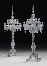 A LARGE PAIR OF FRENCH CUT-CRYSTAL TWENTY-FOUR-LIGHT TORCHERES