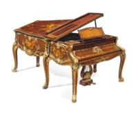 A FRENCH ORMOLU-MOUNTED KINGWOOD, BOIS SATINÉ AND FRUITWOOD MARQUETRY PIANO À QUEUE