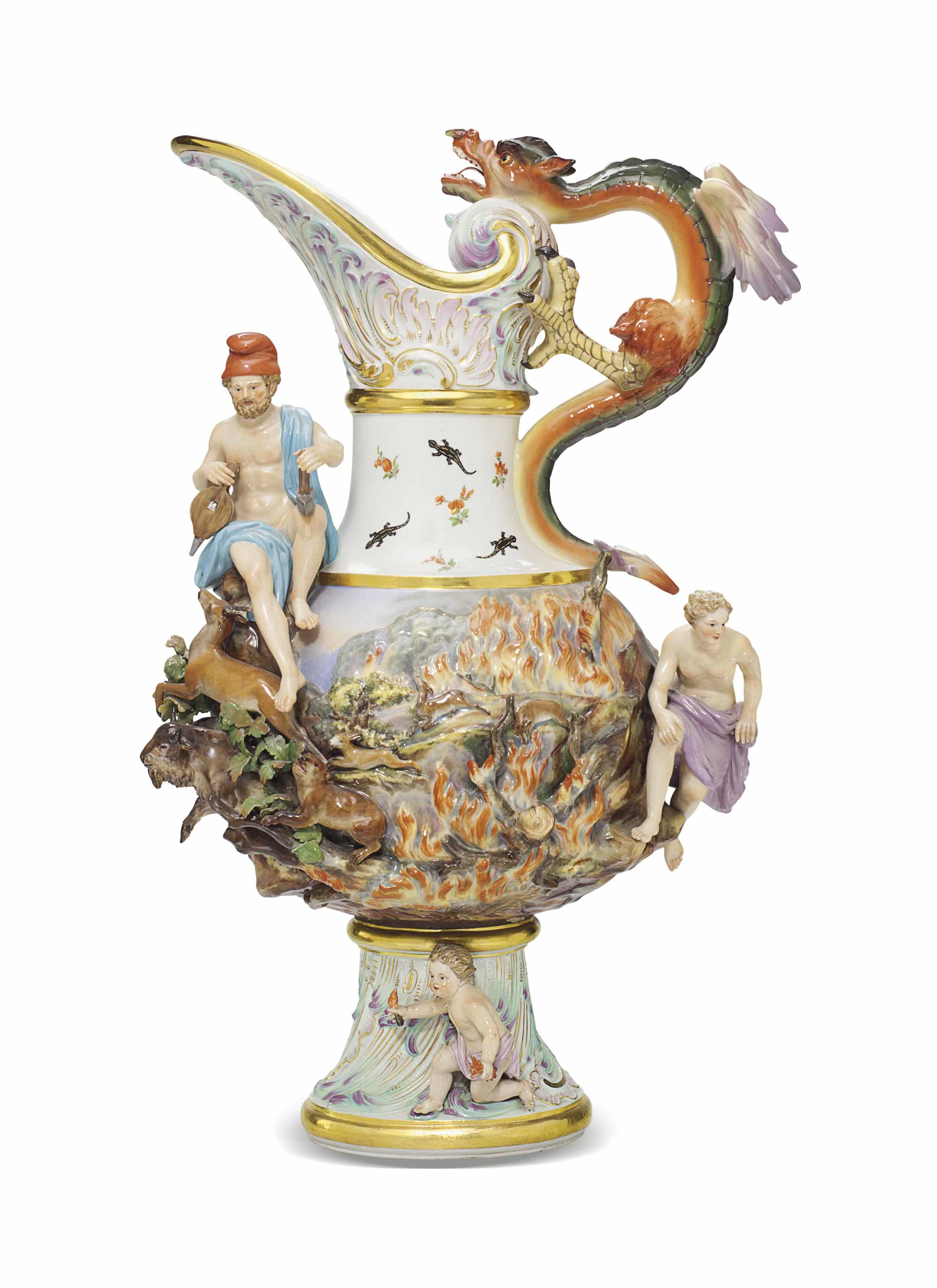 A MEISSEN PORCELAIN EWER EMBLEMATIC OF FIRE