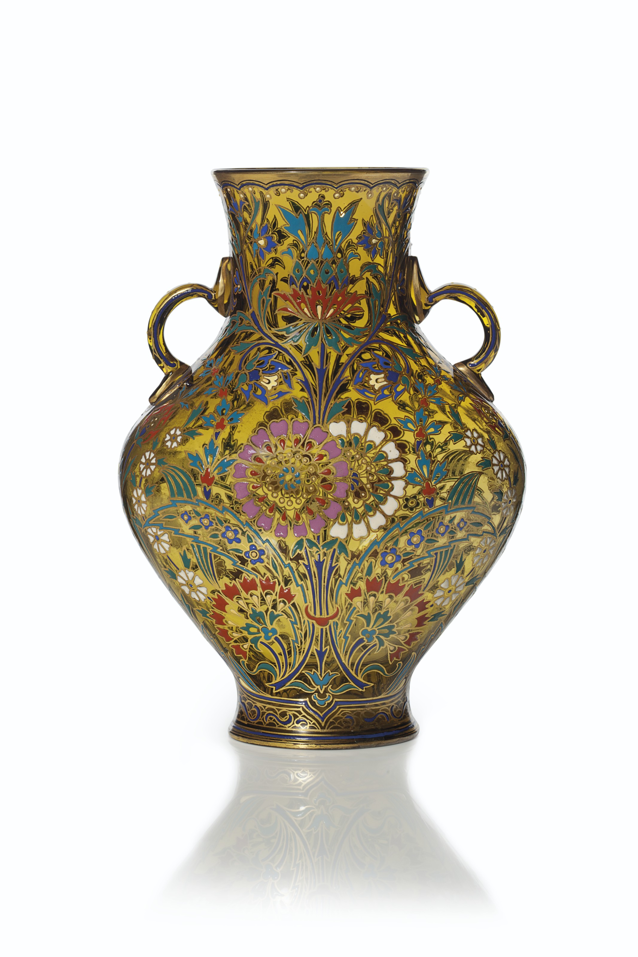 A J. & L. LOBMEYR TWO-HANDLED ENAMELED 'PERSIAN STYLE' AMBER GLASS VASE