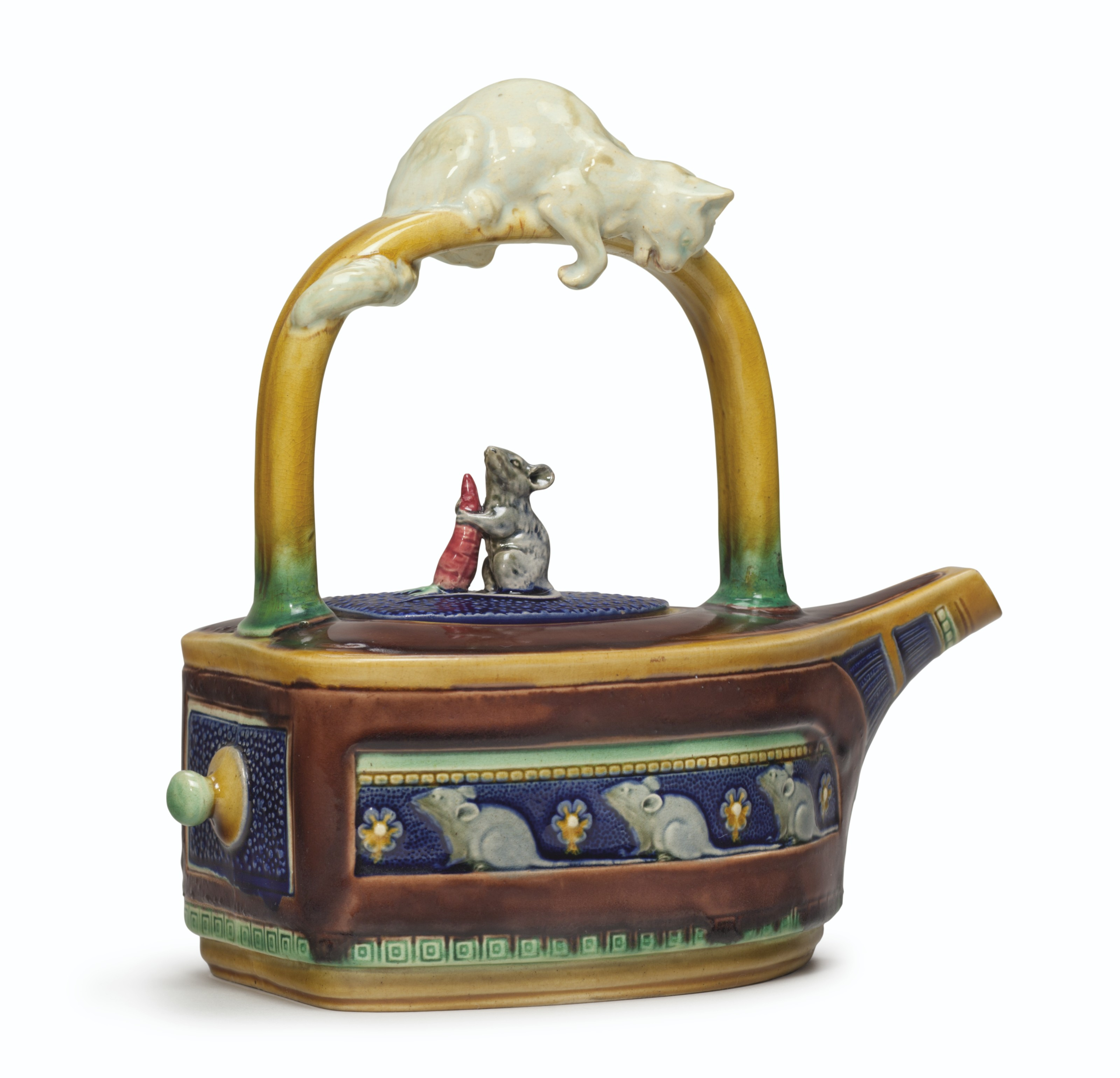 A MINTONS MAJOLICA 'CAT AND MO