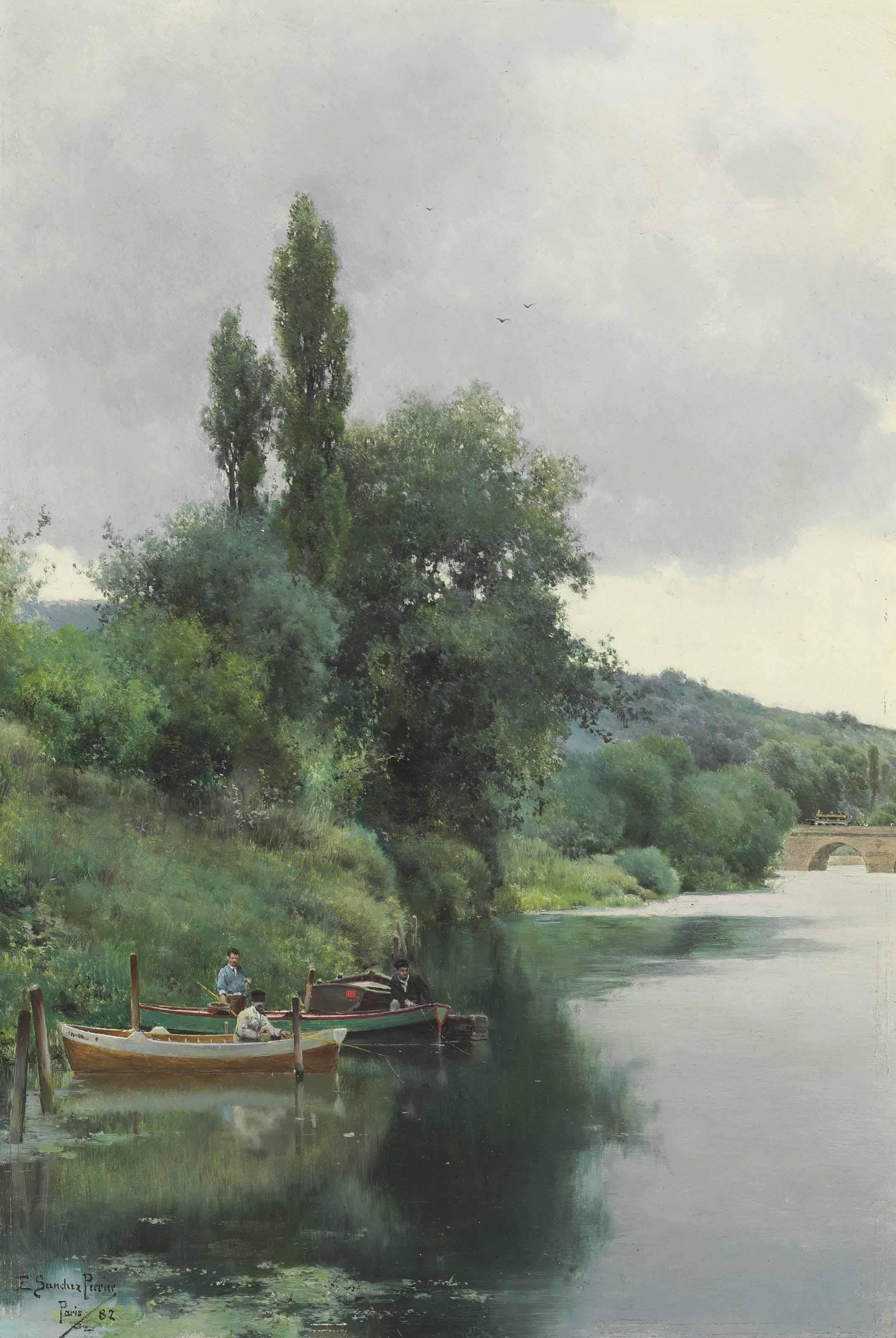 Three Men Fishing on a River