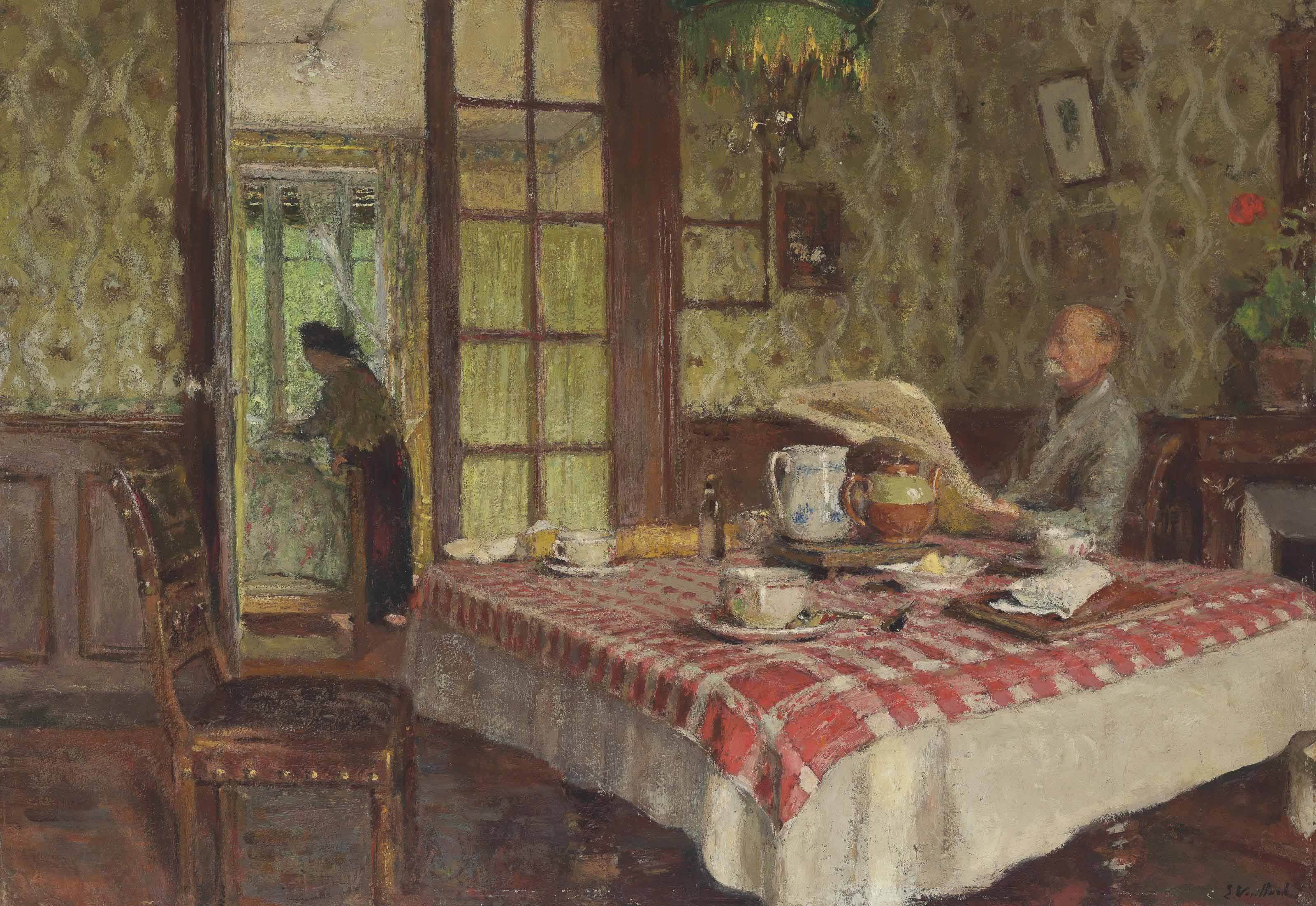 edouard vuillard 1868 1940 la lecture dans la salle manger vaucresson christie 39 s. Black Bedroom Furniture Sets. Home Design Ideas