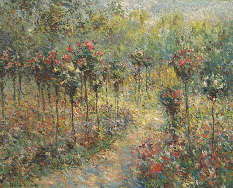 Chemin dans le jardin aux rosiers