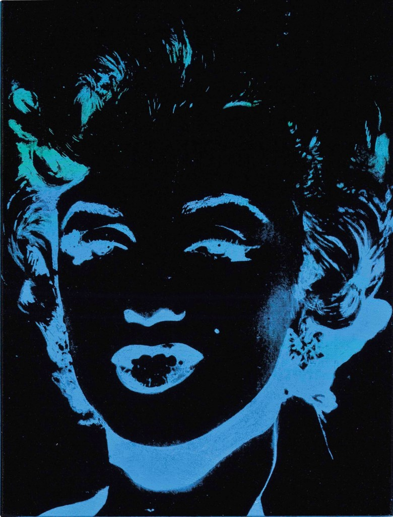 Andy Warhol (1928-1987), Marilyn (Reversal), painted in 1979. Synthetic polymer and silkscreen ink on canvas. 18 x 13⅞  in (45.7 x 35.2  cm). Sold for $2,345,000 on 12 May 2015 at Christie's in New York. Artwork © 2020 The Andy Warhol Foundation for the Visual Arts, Inc.  Licensed by DACS, London