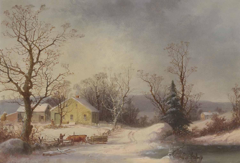 Returning to the Farm (Yellow Farmhouse in Winter)