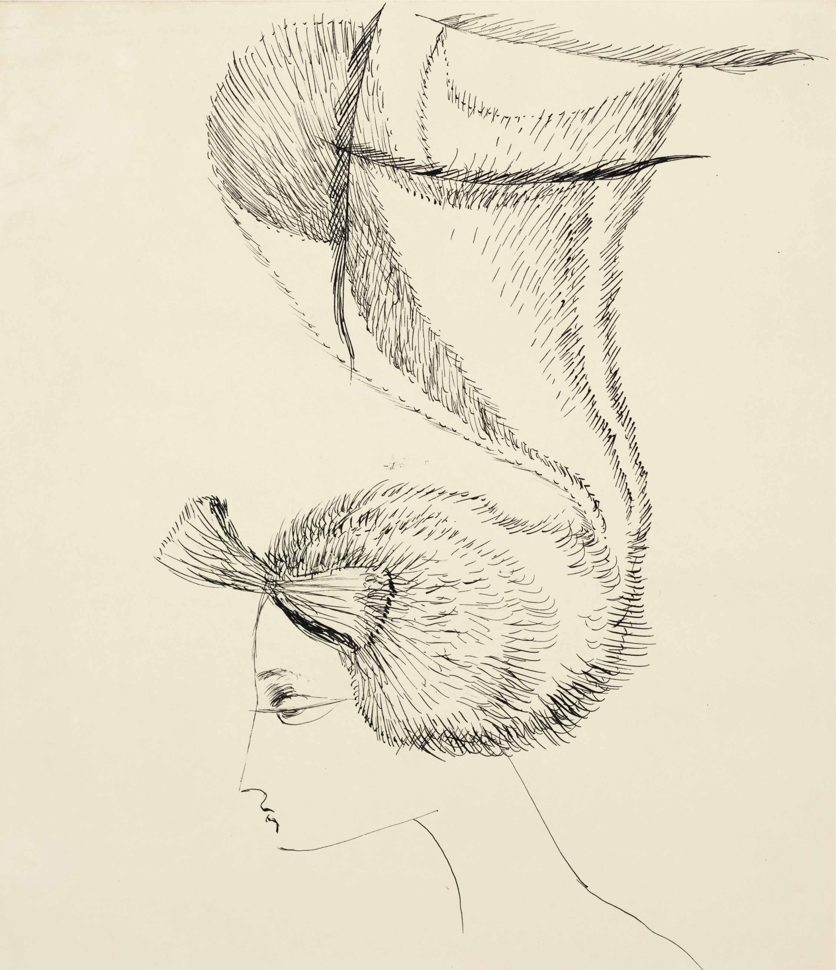 Perfil de mujer con sombrero Art Nouveau