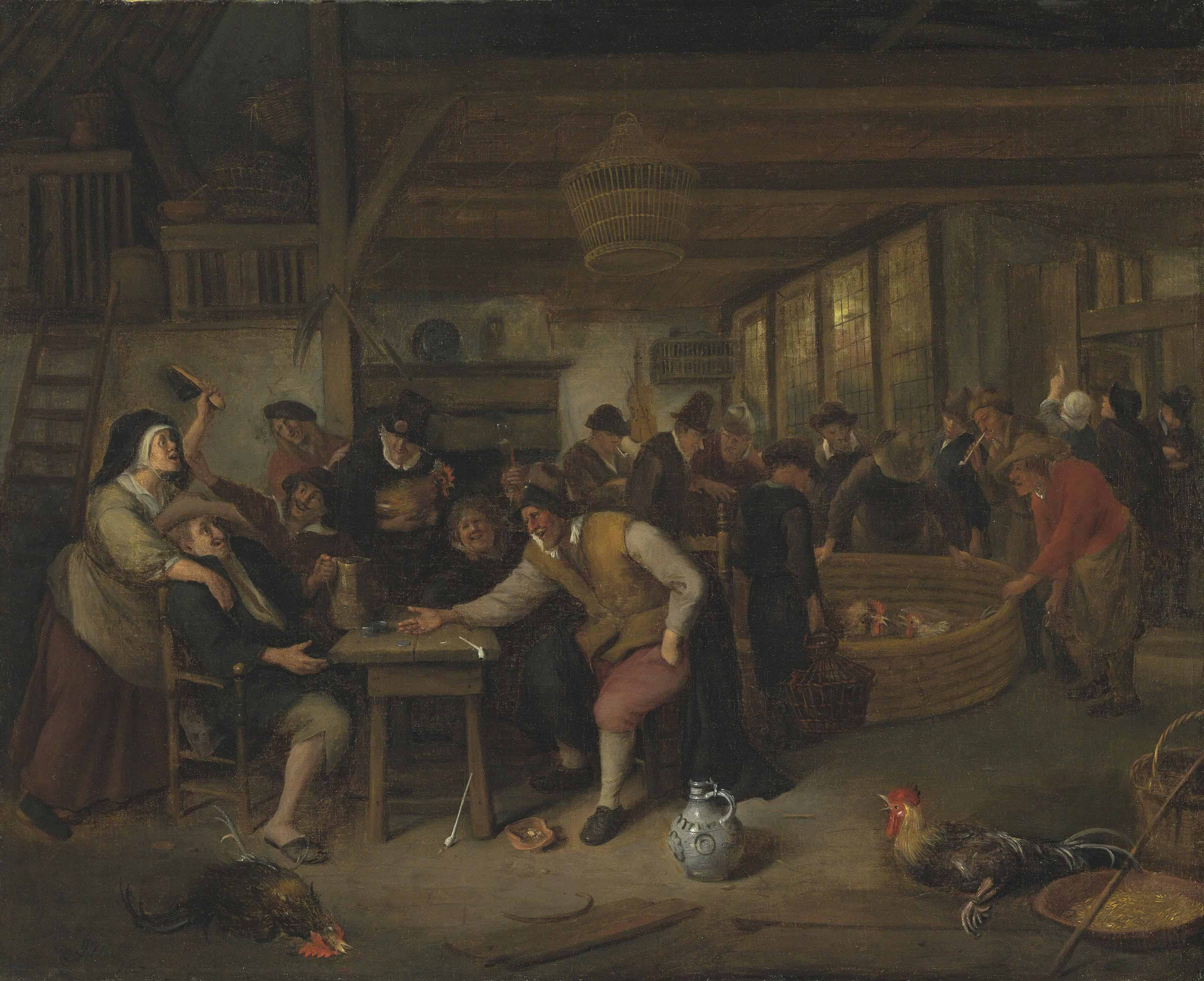 A cock fight in a tavern