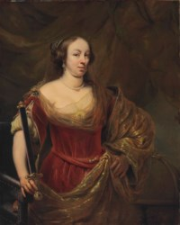 Portrait of a lady, traditionally identified as Maria Louise Gonzaga (1611-1667), Queen of Poland, half-length, in a red dress and gold-embroidered shawl