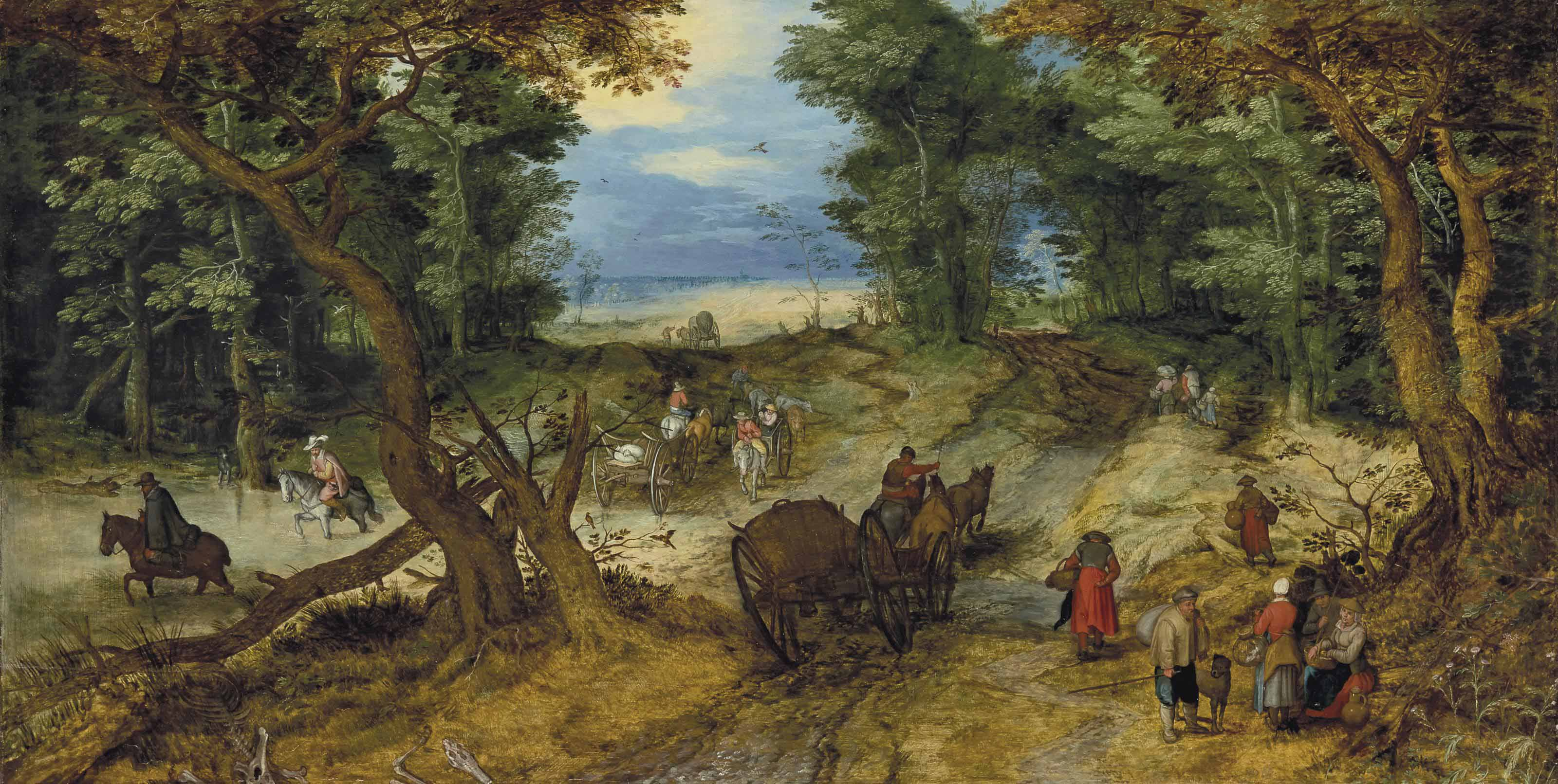 A wooded landscape with travelers on a path
