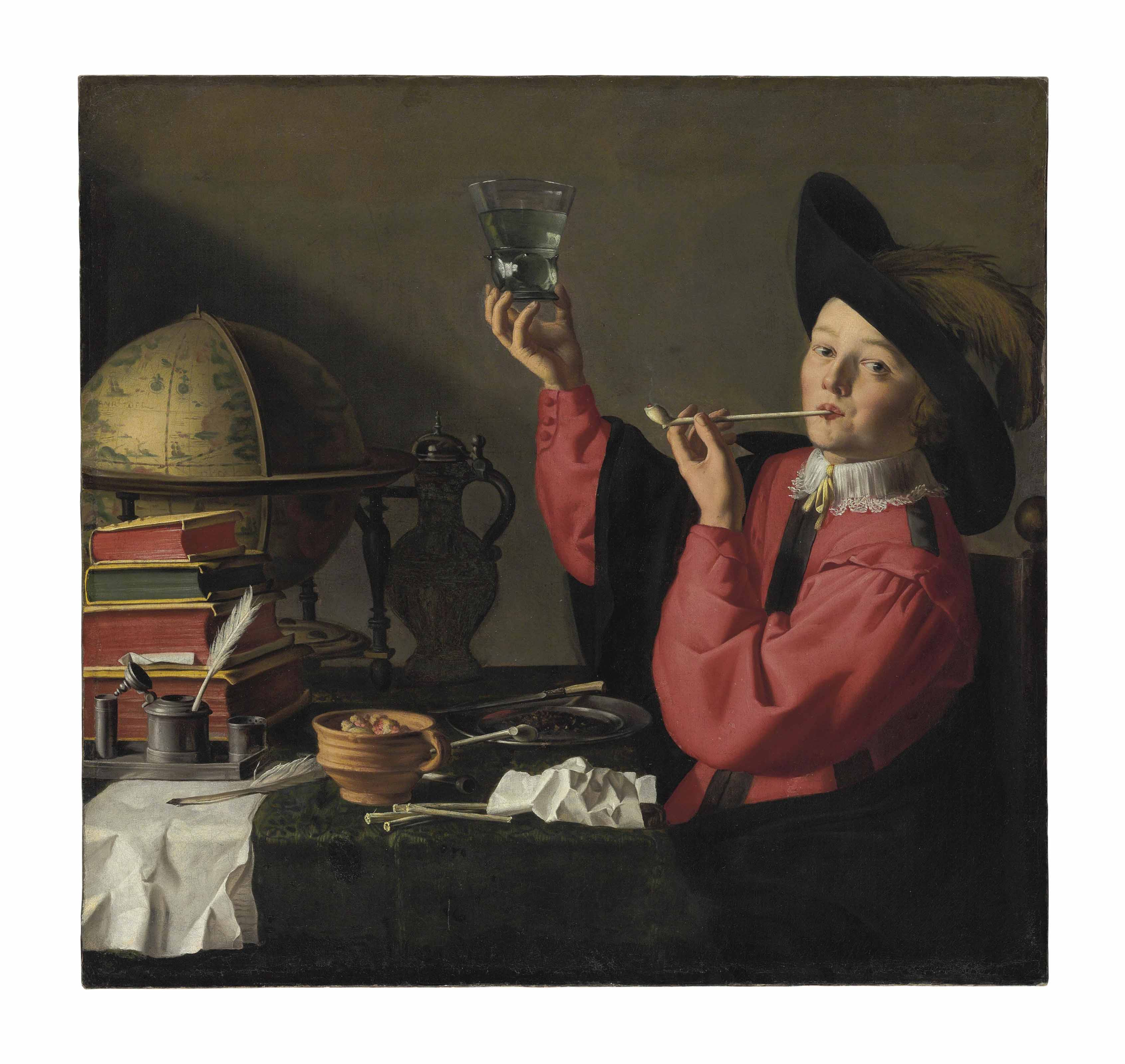 A gallant youth drinking and smoking at a table with a globe, books, and other objects