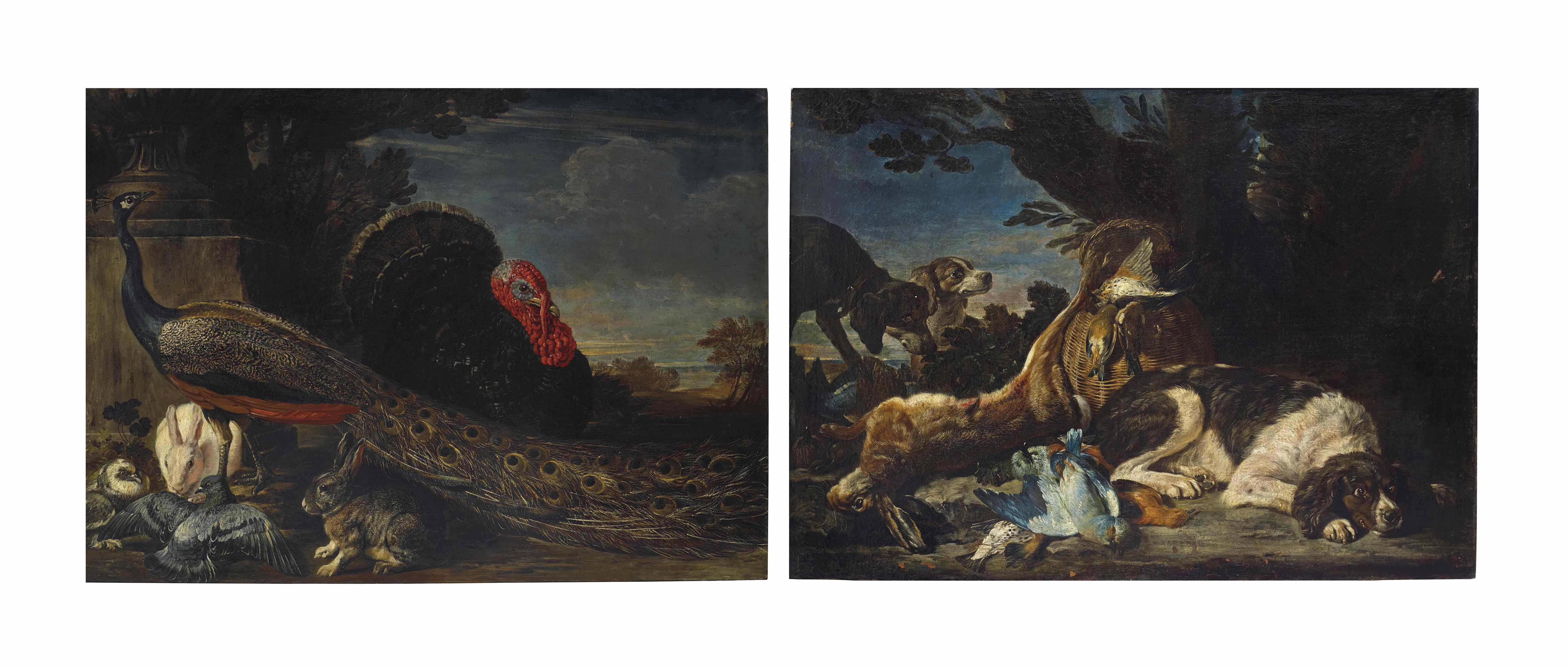 A peacock, wild turkey, hares, and pigeons in a garden, a landscape beyond; and A hare and game birds with three dogs, a landscape beyond