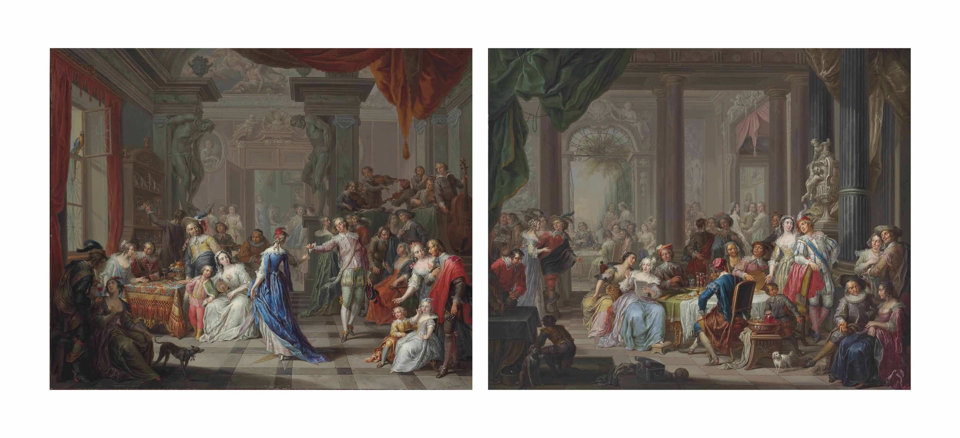 A musical banquet in a palace; and Elegant figures dancing and merrymaking in a palace