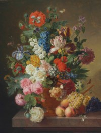 Peonies, roses, tulips, an iris and other flowers in an alabaster vase on a stone ledge with fruit