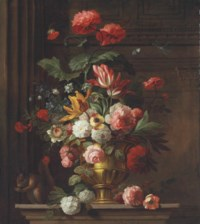 Roses, carnations, hydrangeas, tulips, and other flowers in a decorated vase on a ledge with a squirrel, butterfly, and a dragonfly