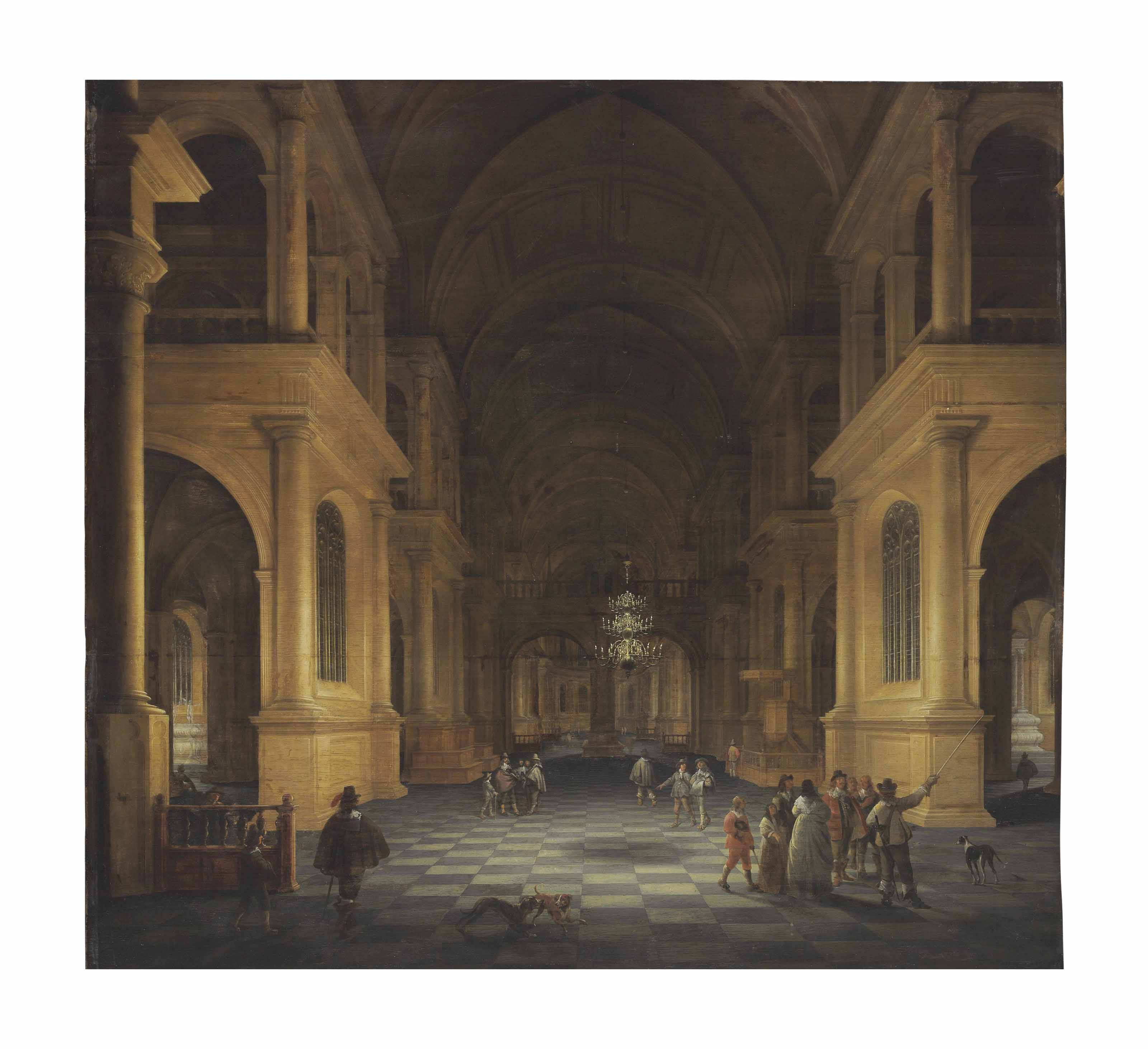 A darkened church interior with elegant figures