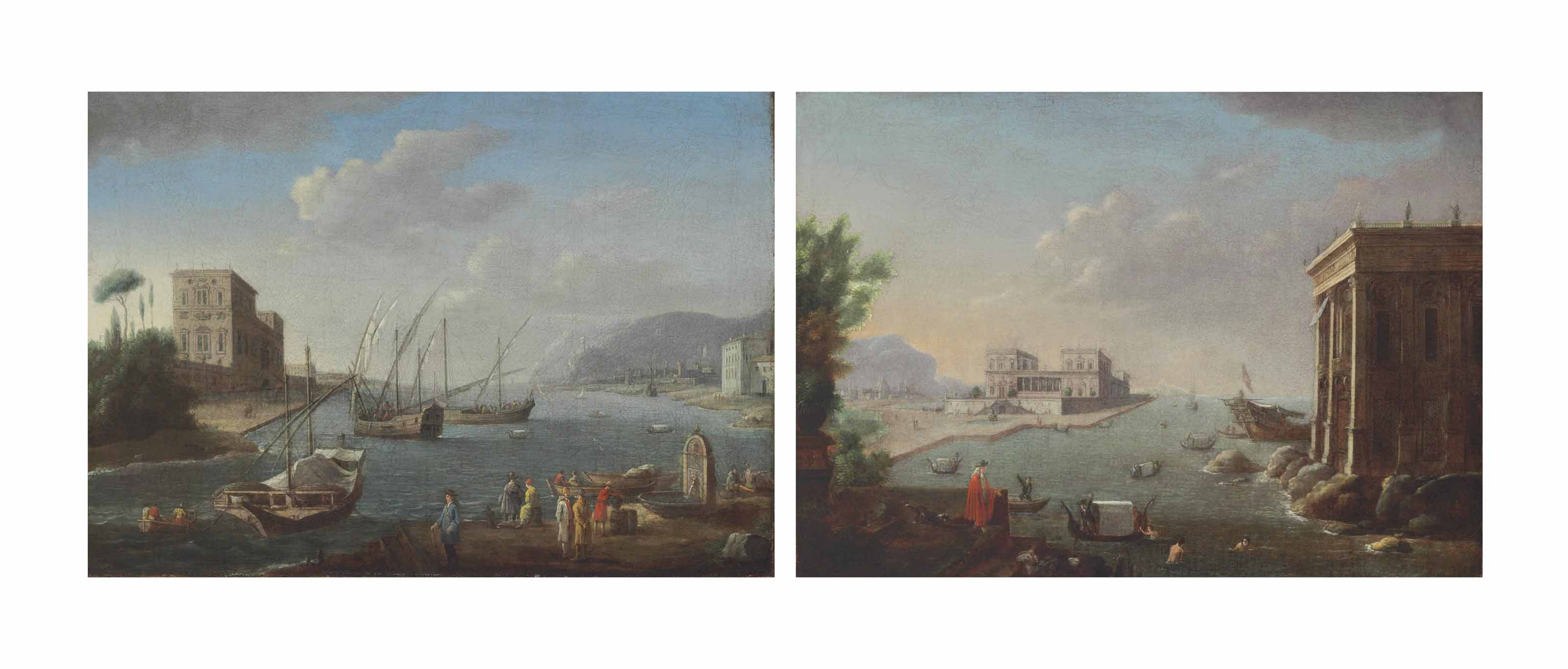 A Mediterranean harbor view with ships setting out; and A Mediterranean harbor view with swimmers and gondoliers