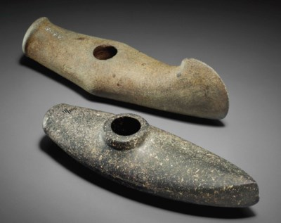 TWO NORDIC STONE BATTLE AXES