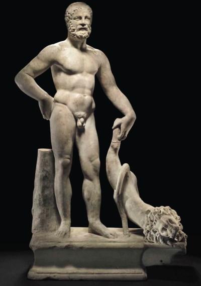 A ROMAN MARBLE FIGURE OF HERCU