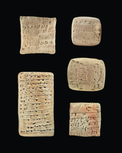 FIVE SUMERIAN CLAY CUNEIFORM T