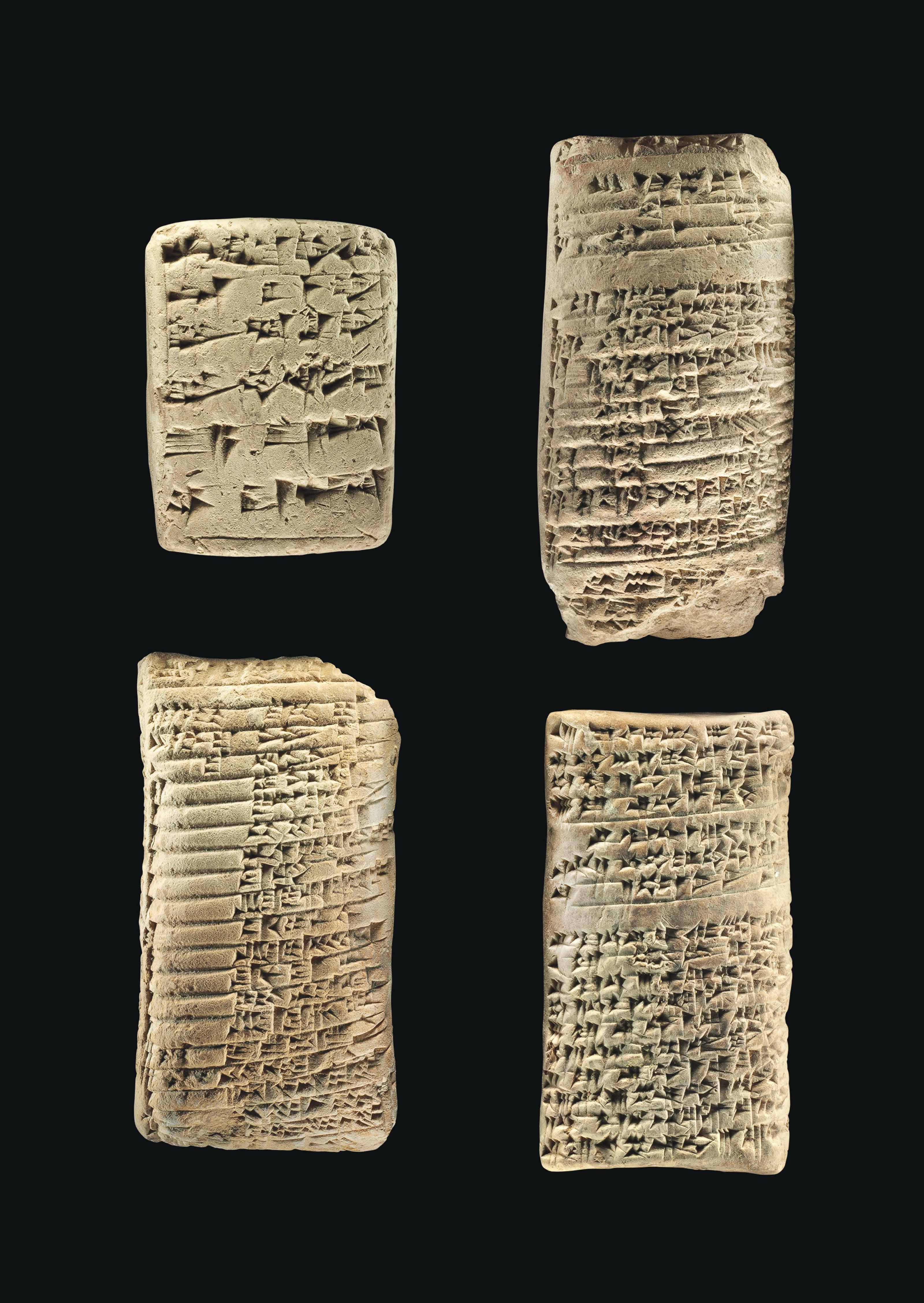 FOUR OLD BABYLONIAN CLAY CUNEIFORM TABLETS | CIRCA 1900-1600 B.C. ...