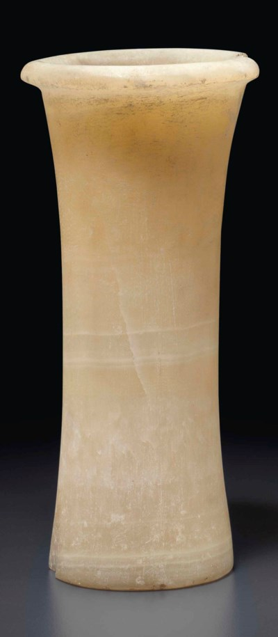 AN EGYPTIAN ALABASTER VASE