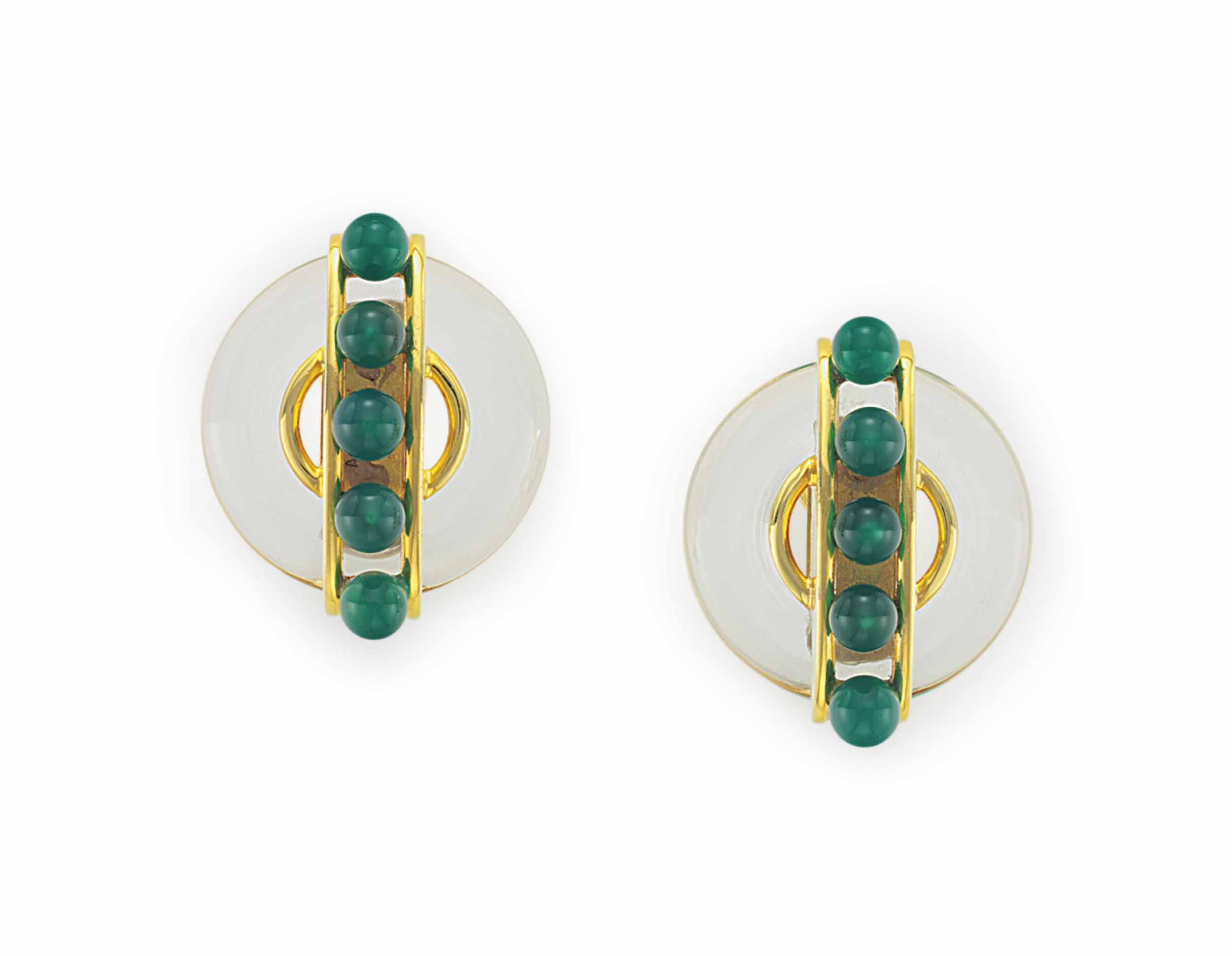 A PAIR OF ROCK CRYSTAL, CHALCEDONY AND GOLD EAR CLIPS, BY ALDO CIPULLO, CARTIER