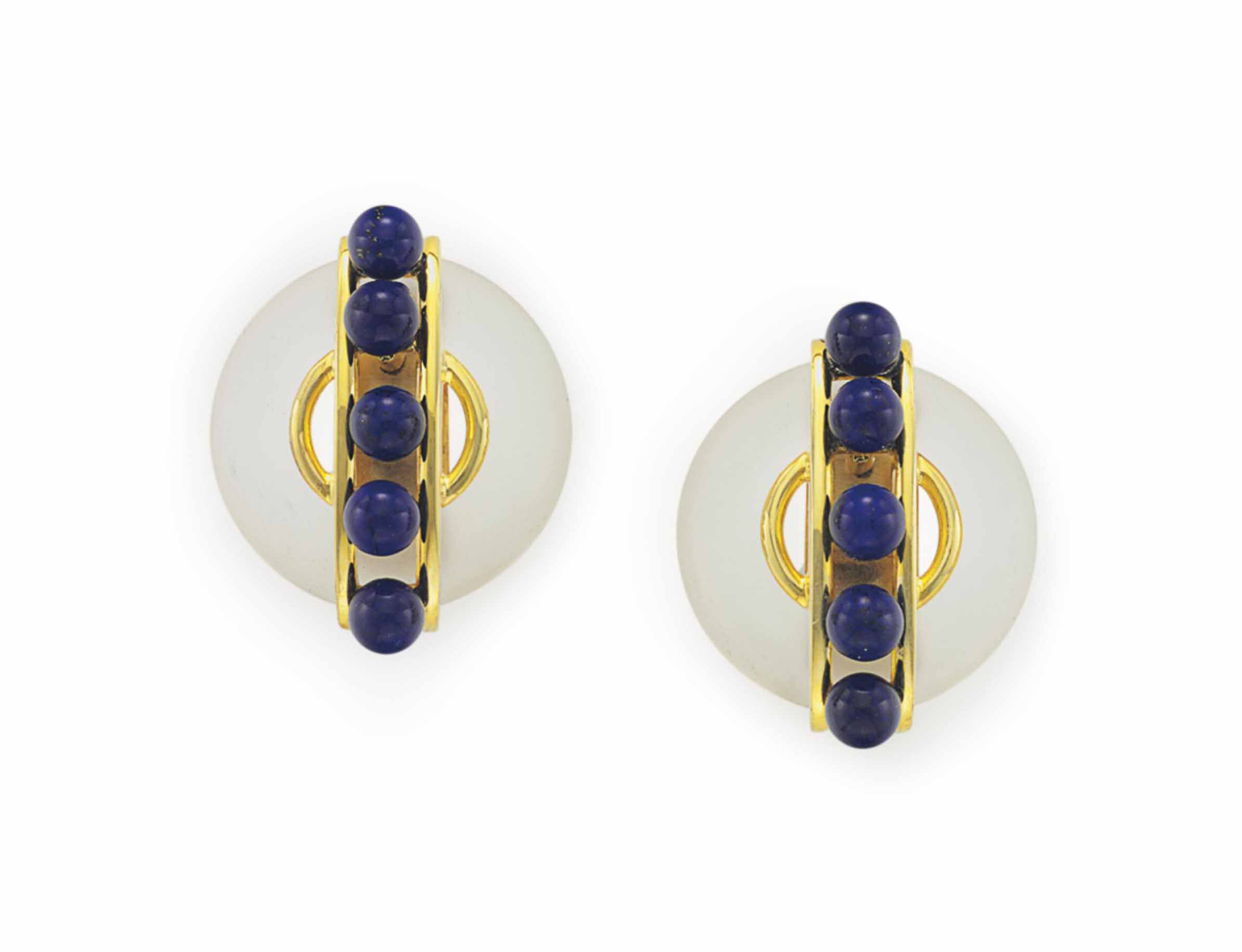 A PAIR OF FROSTED ROCK CRYSTAL, LAPIS LAZULI AND GOLD EAR CLIPS, BY ALDO CIPULLO, CARTIER