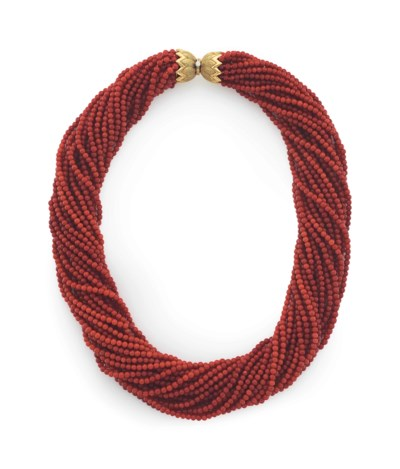 ~A CORAL BEAD, DIAMOND AND GOL