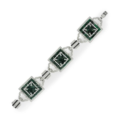 AN ART DECO DIAMOND, JADE AND