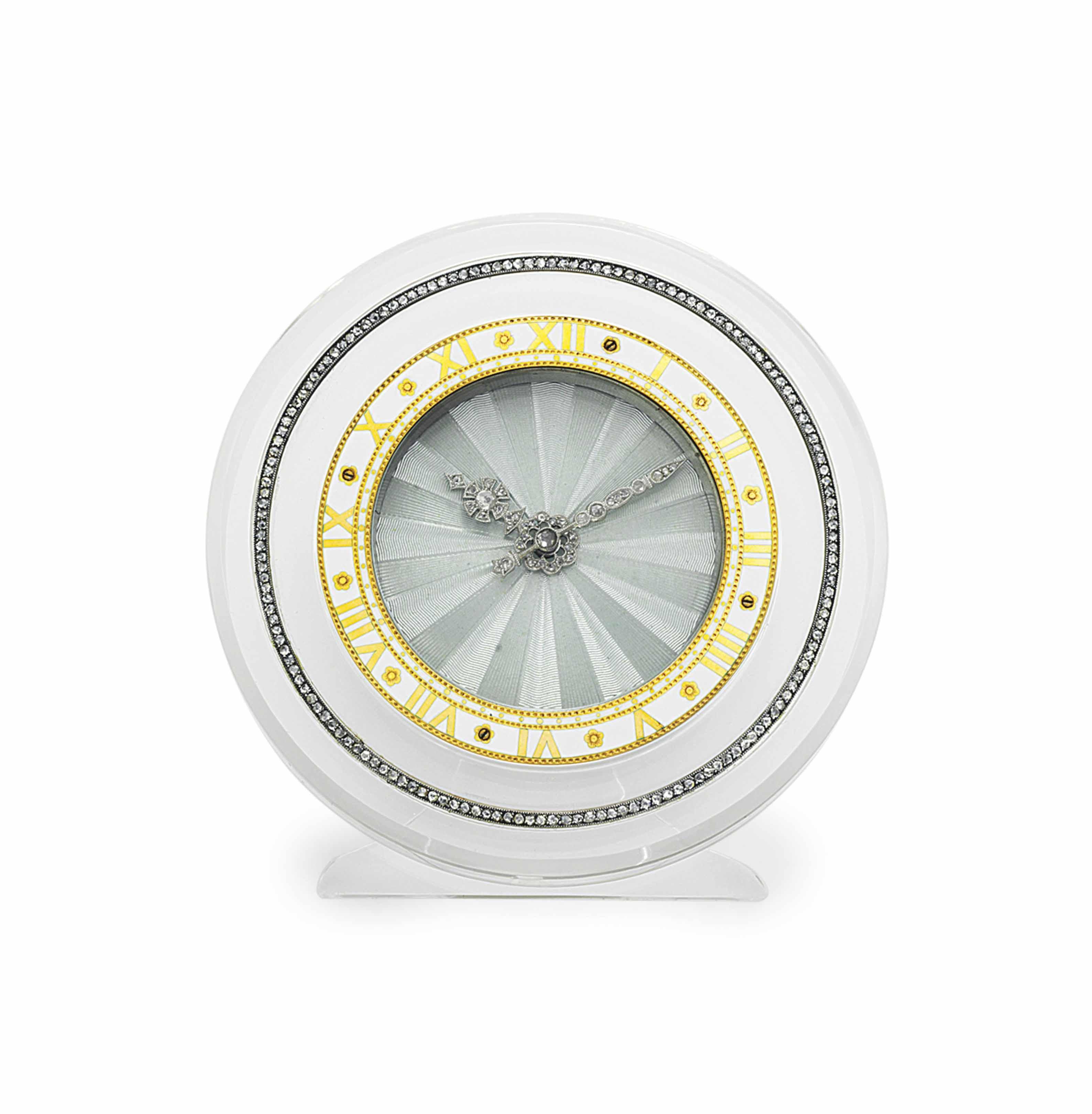 AN ART DECO DIAMOND AND ENAMEL DESK CLOCK, BY CARTIER