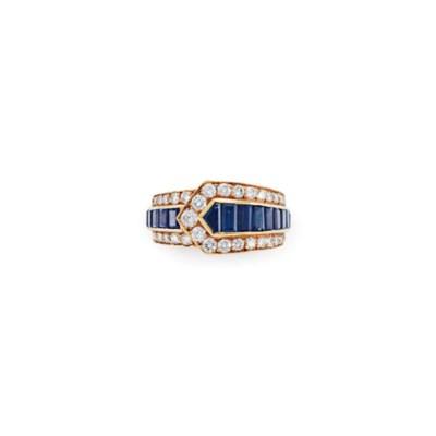 A SAPPHIRE AND DIAMOND RING, B