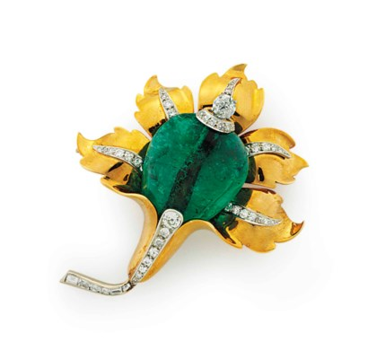 AN EMERALD, DIAMOND AND GOLD F