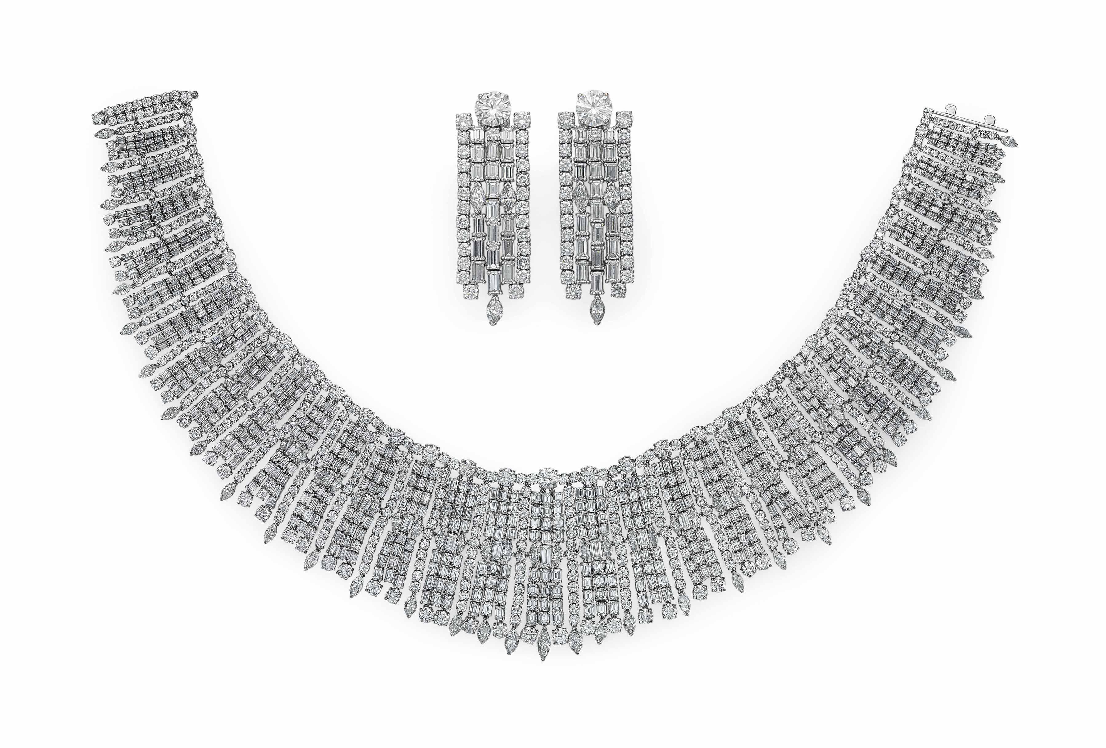 A SET OF DIAMOND JEWELRY, BY J