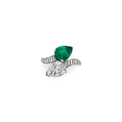AN EMERALD AND DIAMOND TWO-STO