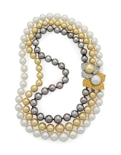 A THREE-ROW CULTURED PEARL, CO