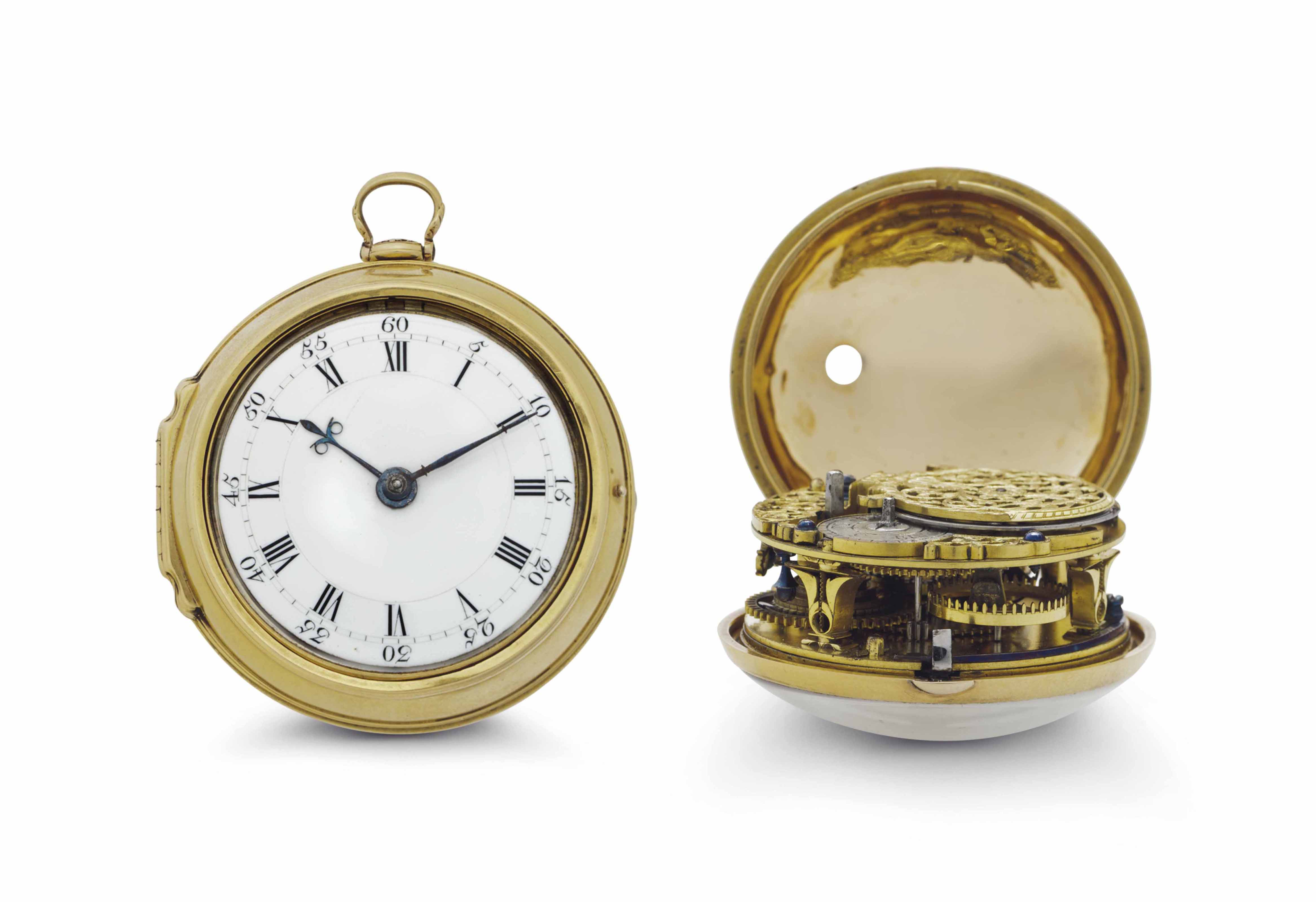 Tompion. An Early Gold Pair Ca