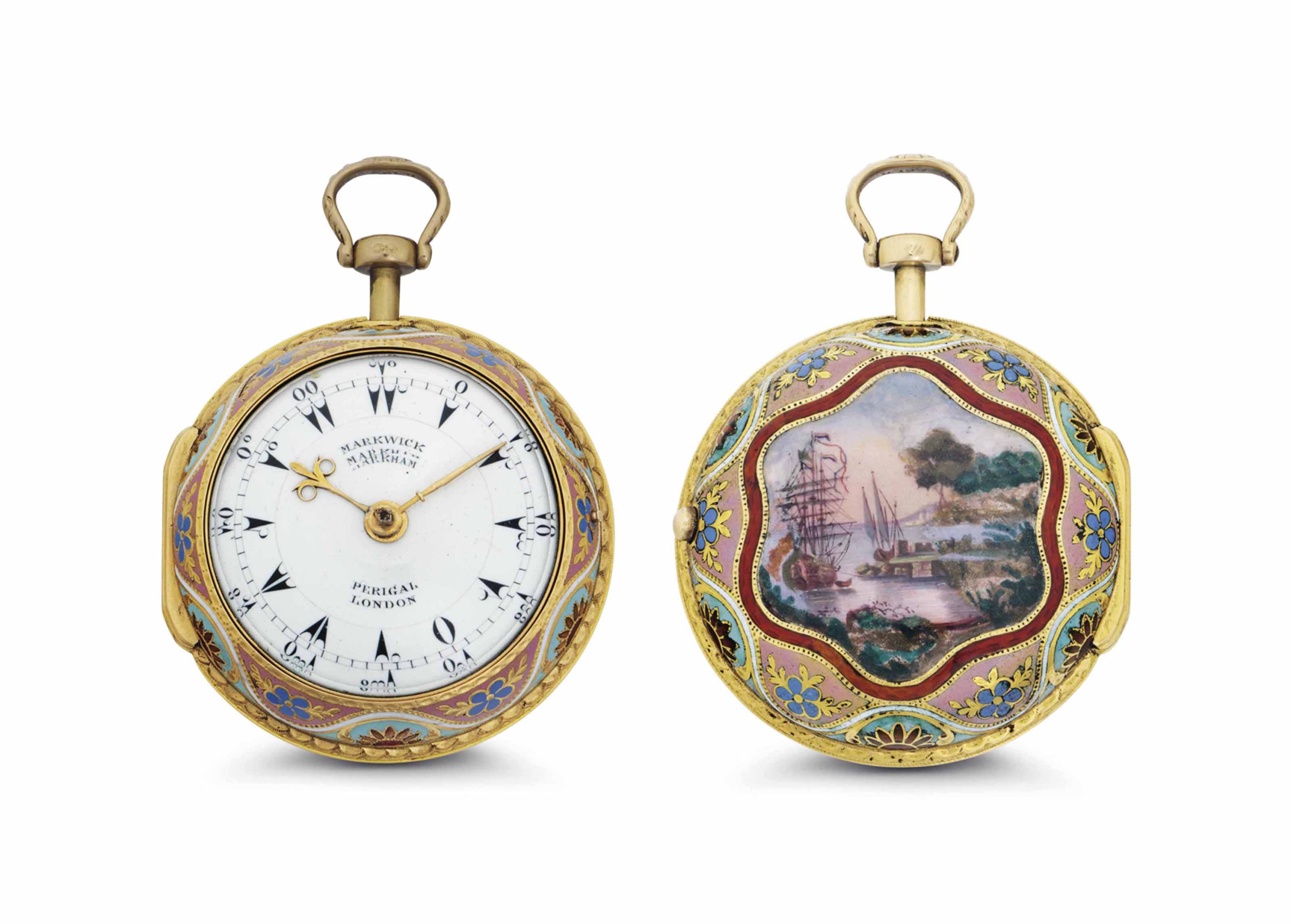 Markwich Markham, Perigal. A Fine 18k Gold and Enamel Pair Case Verge Watch, Made for the Turkish Market