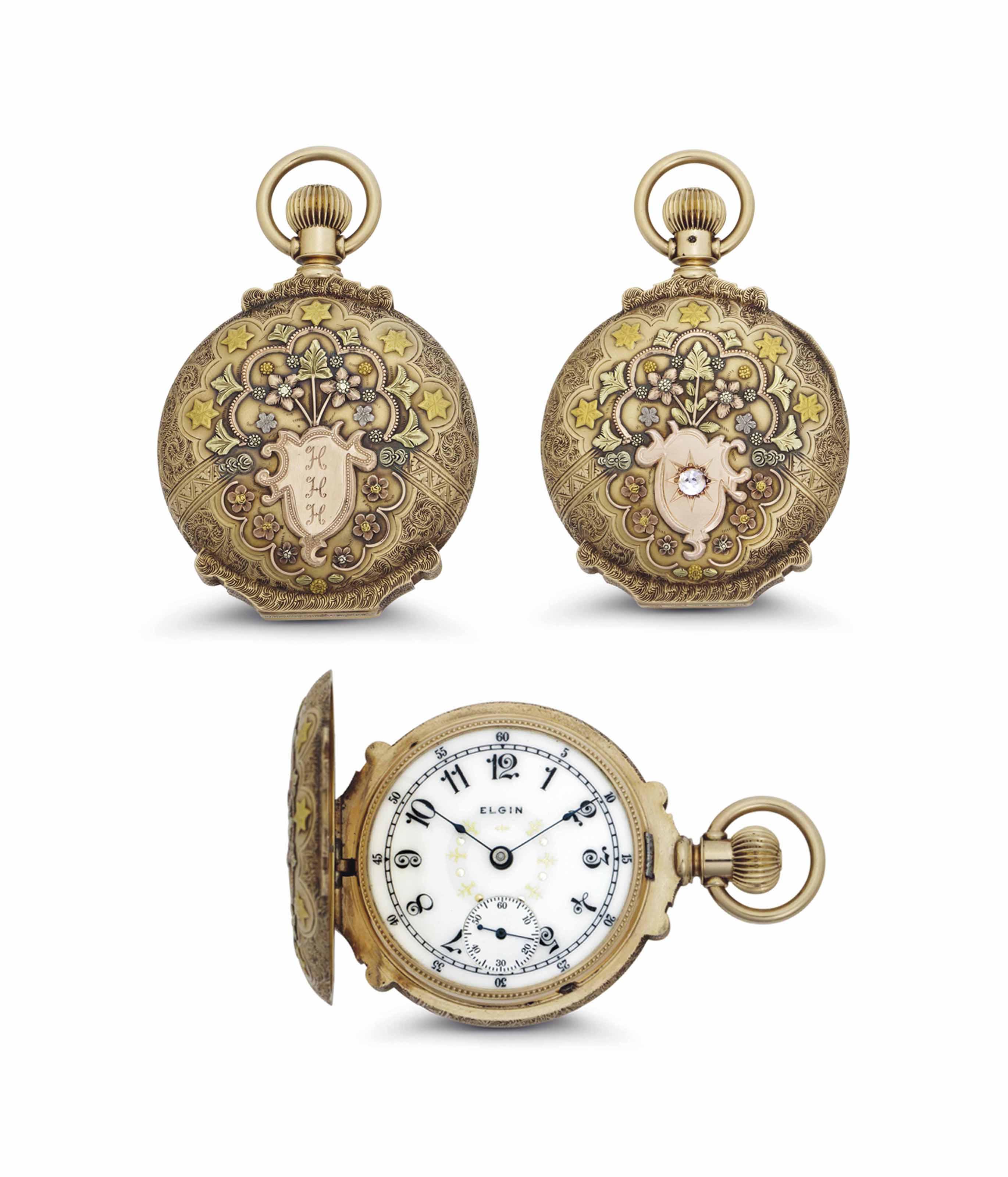 Elgin. A Fine and Rare 14k Tri Color Gold Hunter Case Box Hinge Pocket Watch