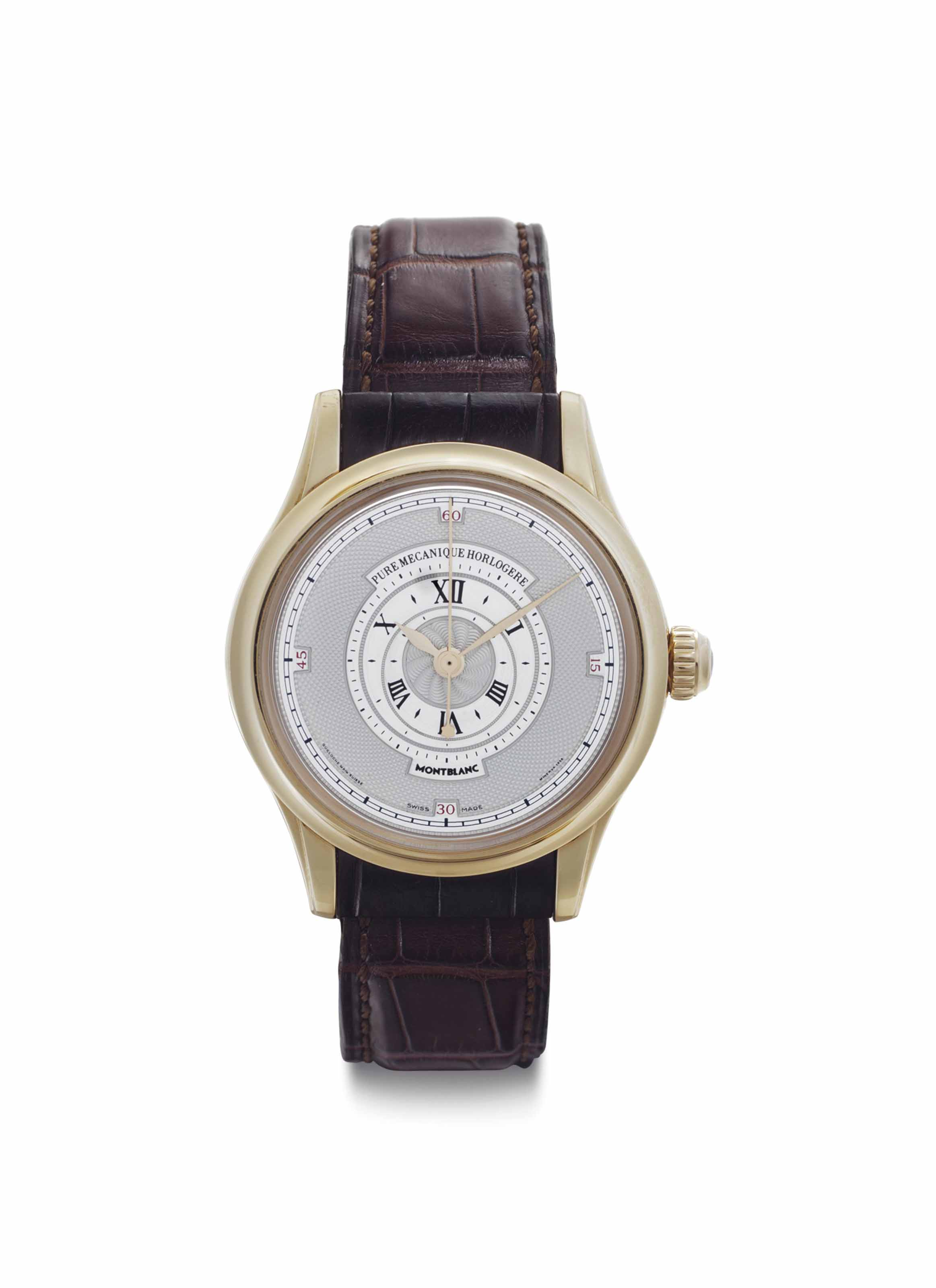 Montblanc. A Limited Edition 18k Pink Gold Wristwatch with Center Seconds