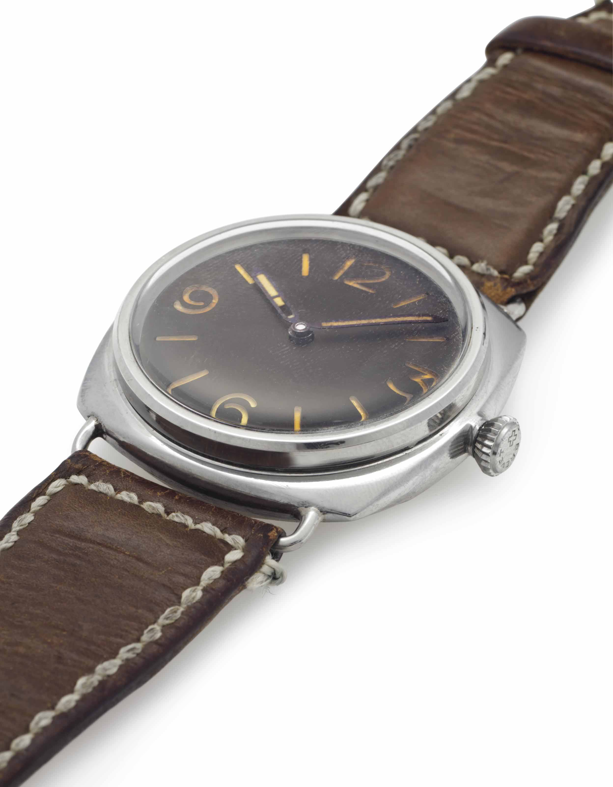 Rolex and Panerai. An Early and Rare Stainless Steel Wristwatch