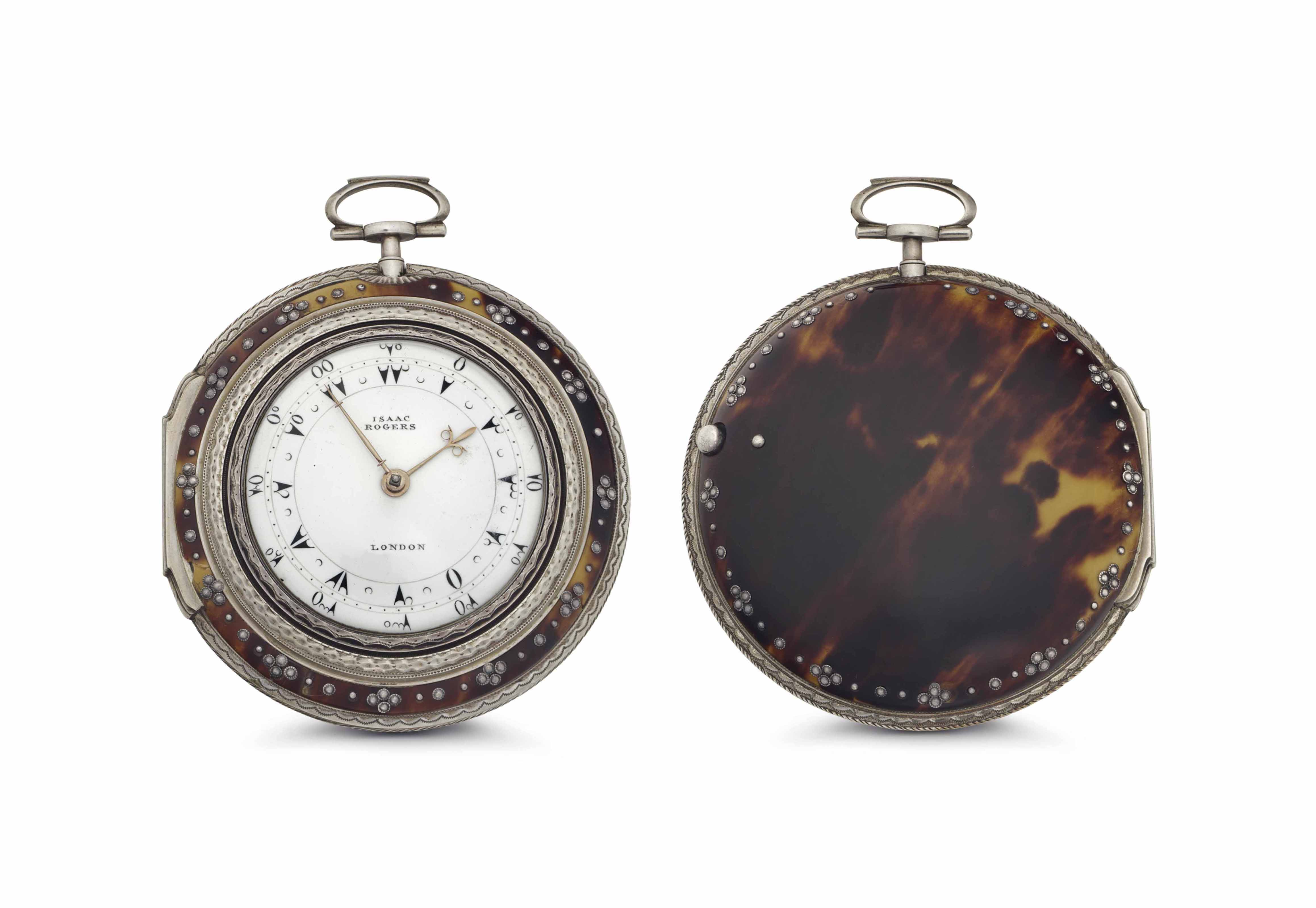 Rogers. A Fine Silver and Tortoiseshell Triple Case Keywound Verge Watch, Made for the Turkish Market