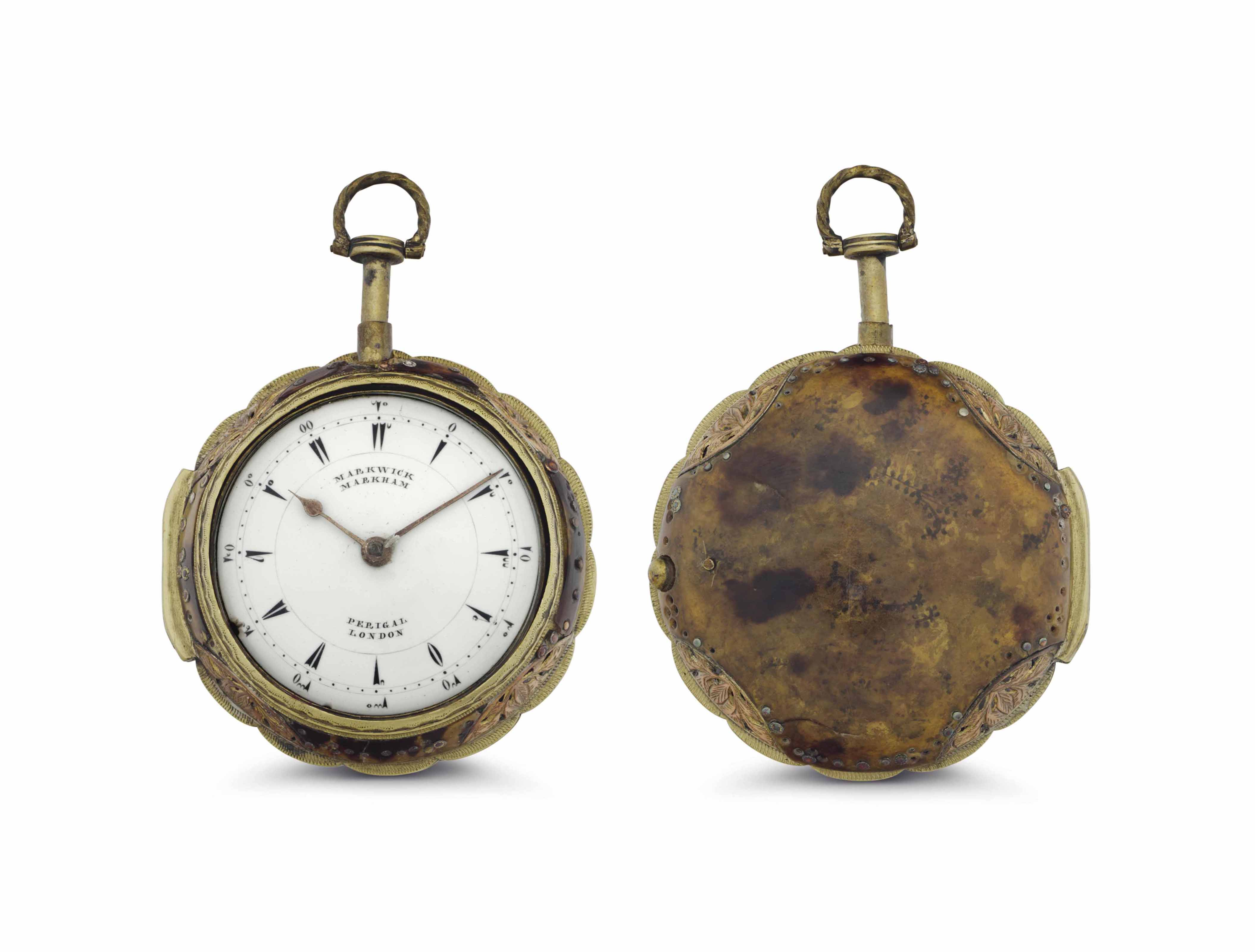 Markwick Markham, Perigal. A Gilt and Tortoiseshell Quarter Repeating Pair Case Keywound Verge Pocket Watch, Made for the Turkish Market