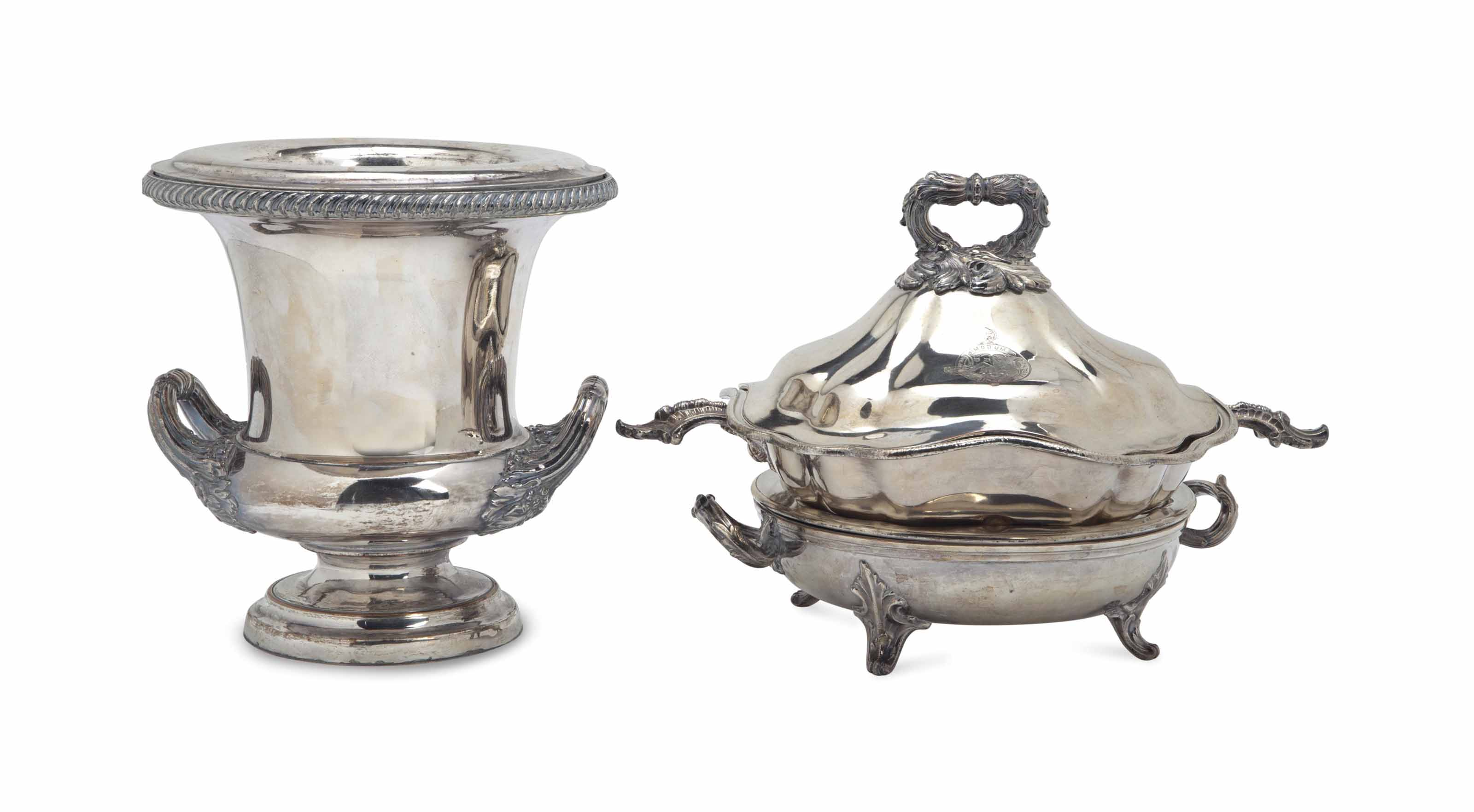A PAIR OF SHEFFIELD-PLATE WARM
