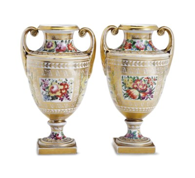 A PAIR OF ENGLISH PORCELAIN YE