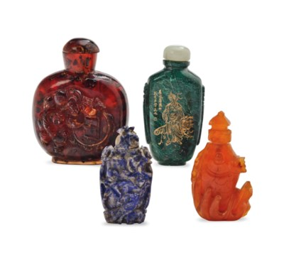 THREE CHINESE CARVED HARDSTONE