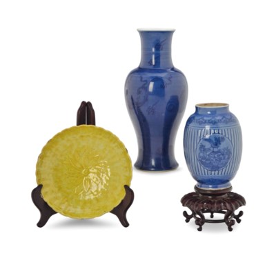 TWO CHINESE PORCELAIN BLUE-GLA