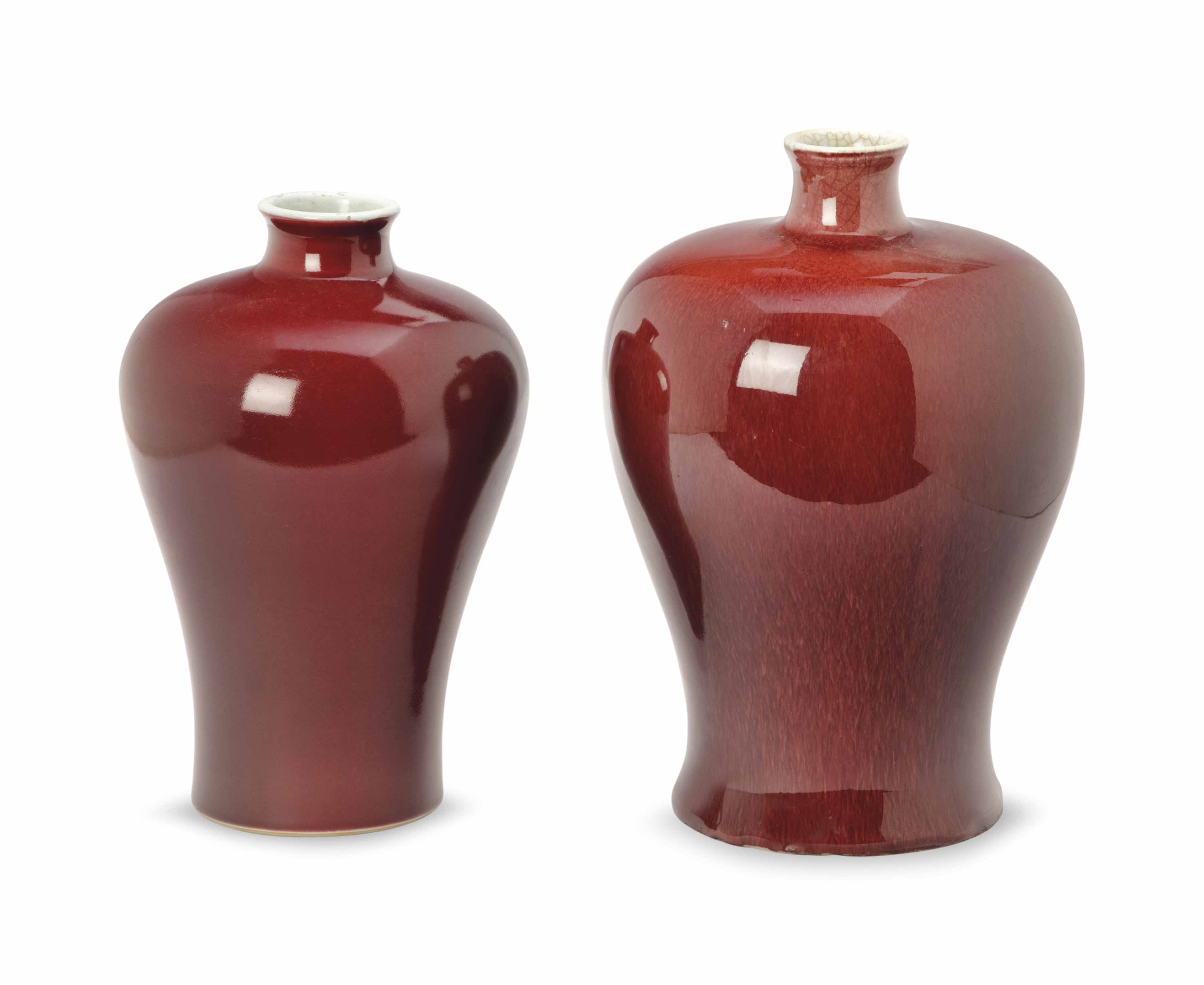 TWO CHINESE COPPER-RED-GLAZED